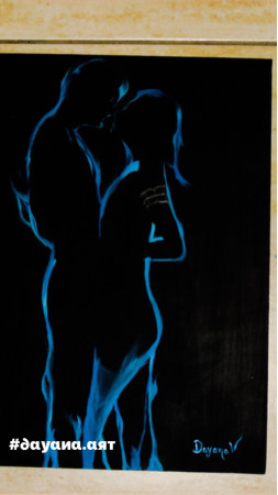 Pintura love couple hugging, ilusion blue smoke