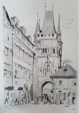 Torre sobre puente en 1835 (Praga)