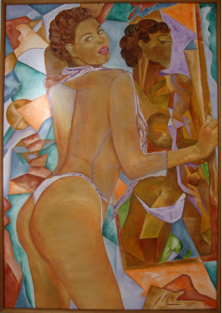 Muchacha delante de un espejo