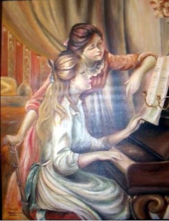 """Reproducción de la obra """"Niñas sentadas al piano"""" de Renoir"""