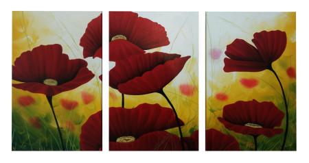 Flores Rojas decorativas al óleo (Tríptico)