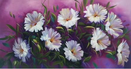 Flores Blancas al óleo