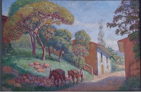 Calle con dos mulas