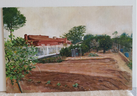 Vista de la huerta con naranjos