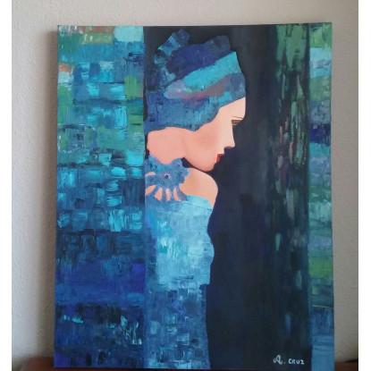 Señorita asomándose tonos azules