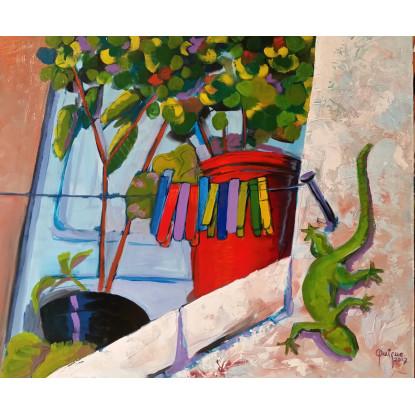 Ventana con plantas y lagartija