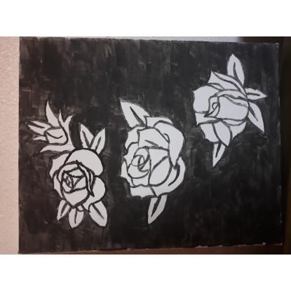 3 rosas en negro