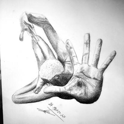 hombre de perspectiva desde su palma.