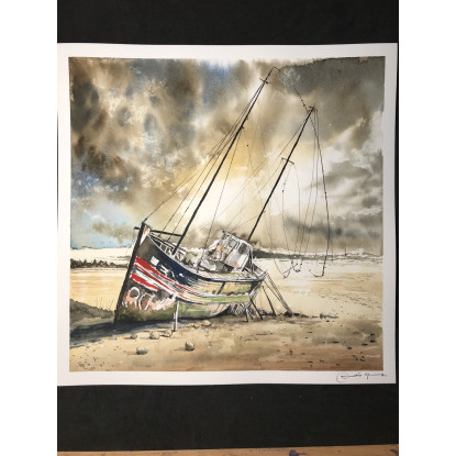 Barca varada en la soledad y tristeza