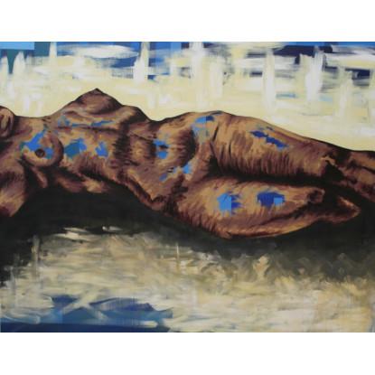 Desnudo sobre fondo abstracto