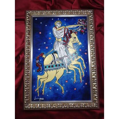El mago Odín con su caballo mágico Sleipnir