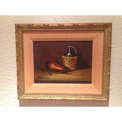 Oleo bodegón I y II - marco dorado y premarco seda. 2 cuadros.