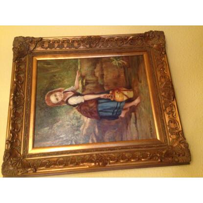 Oleo niña con cántaro - marco dorado madera labrada