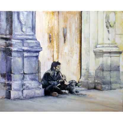 Flautista con perro
