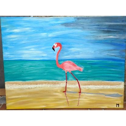 flamenco paseando por la playa