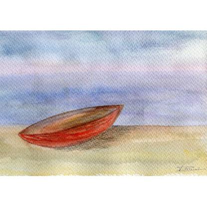 En la arena del mar.