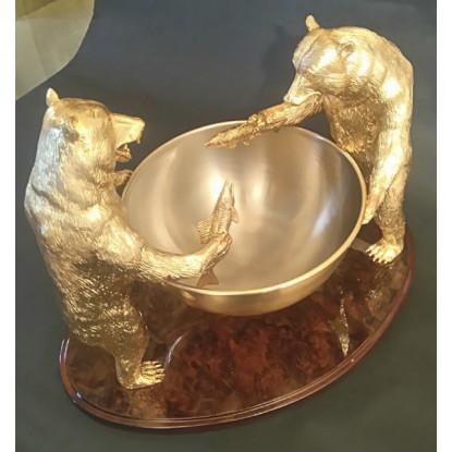 Fuente de champán en bronce dorado